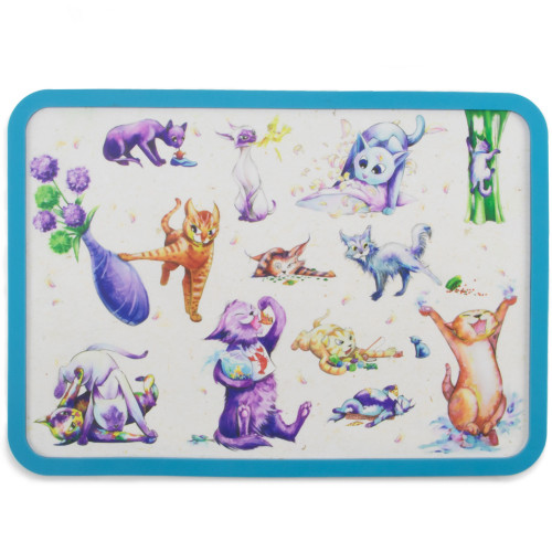 Cattitude Cat Placemat with Matching Stainless Steel Feeding Bowls