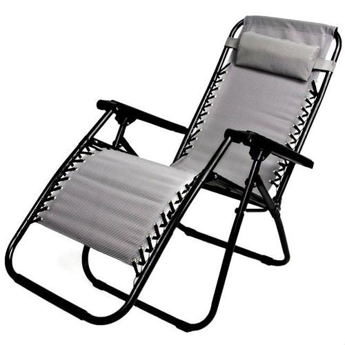 Gray Ergonomically Designed Zero Gravity Folding Lounge Chair