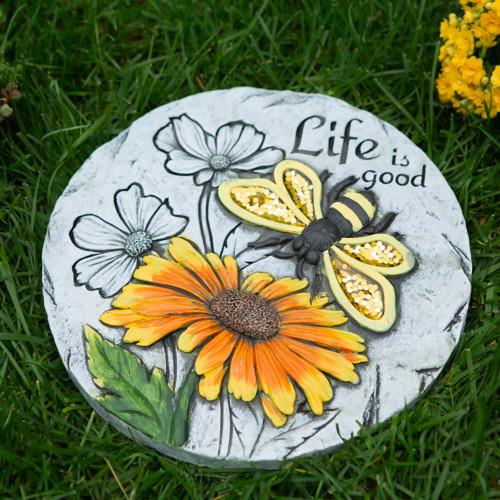Life Is Good Sunflower Cement Garden Stepping Stone