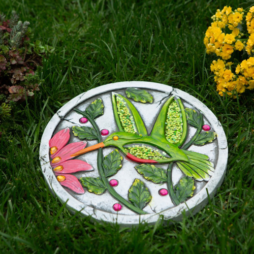 Green Hummingbird Cement Garden Stepping Stone