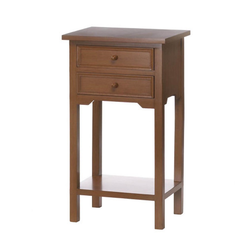Two Drawer Pine Wood Side Table with Rich Brown Finish