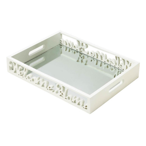 Welcome Home Decorative White Wood Mirrored Tray