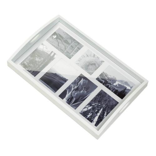 White Wood Photo Collage Decorative Tray