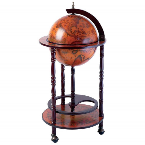 Old World Globe Bar on Wood Stand