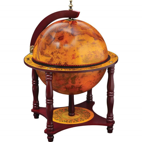 Globe on Wood Stand with Chess and Checkers Game Set