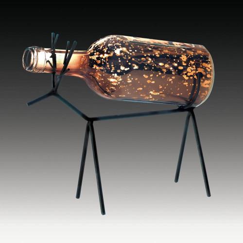 Glass Bottle LED Lighted Iron Reindeer Lantern