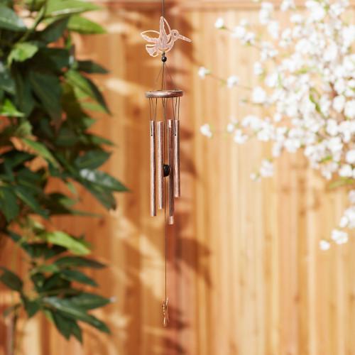 Hummingbird Iron and Wood Wind Chimes