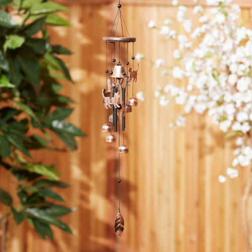 Cat Silhouettes and Bells Bronze Wind Chime