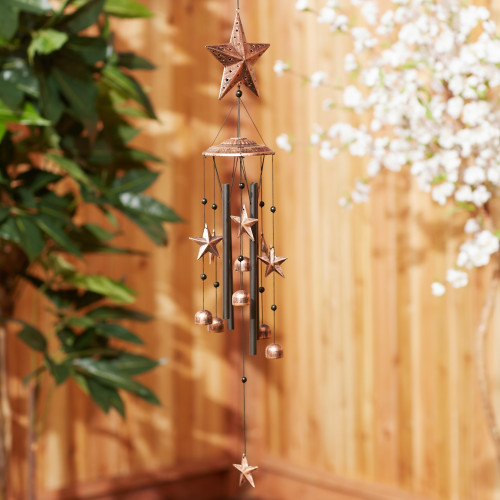 Star Silhouettes and Bells Bronze Wind Chime