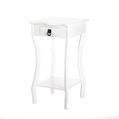 White Scalloped Top Wood Accent Table