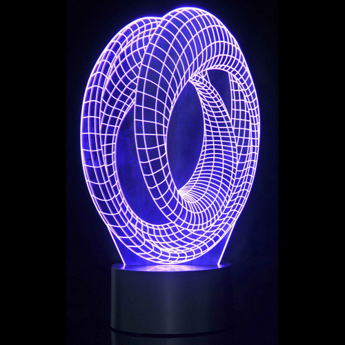 3D Corkscrew Laser Cut LED Lamp with Color Changing Mode