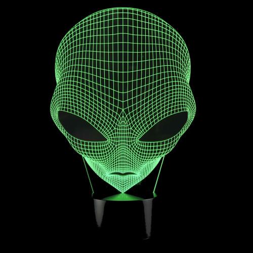 3D Alien Laser Cut LED Lamp with Color Changing Mode