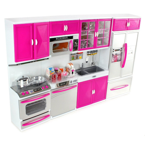 Modern Battery Operated Kitchen with Doll and Accessories Play Set