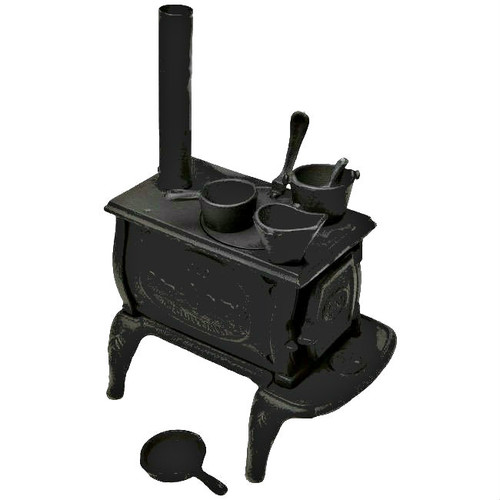 Old Mountain Miniature Cast Iron Box Stove with Pots and Pans