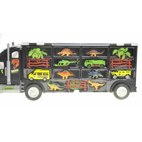 Large Transport Car Carrier Truck with Dinosaurs, Cars and Helicopter