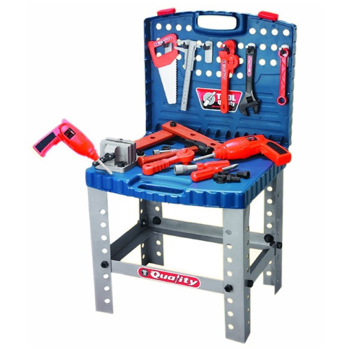 Portable Stand Up Tool Box with Realistic Tools Playset Age 3+