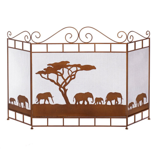Wild African Elephant Savannah Fireplace Screen