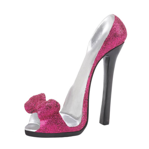 Sparkling Pink Bow Stiletto Heel Shoe Cell Phone Holder