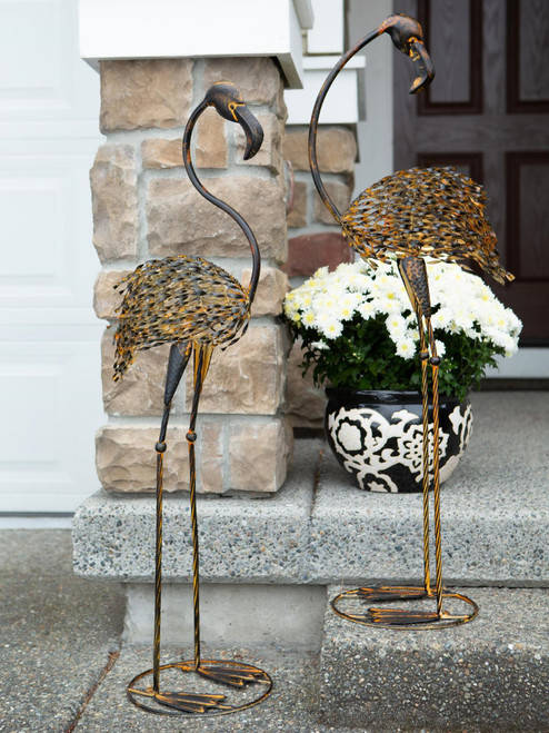 Duo of Wild Flamingo Iron Garden Statues