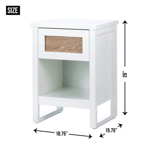 Stylish Wood Side Table with White Finish