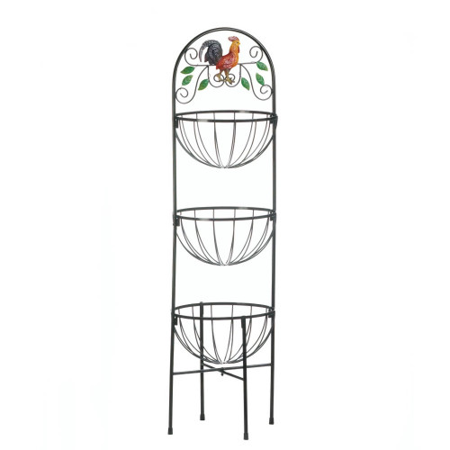 Country Rooster Three Tier Kitchen Basket Stand