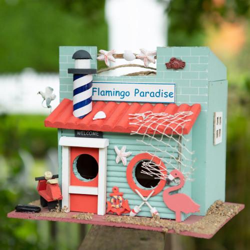 Flamingo Paradise Wood Birdhouse