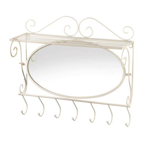 Mirrored Iron Wall Shelf with Hooks