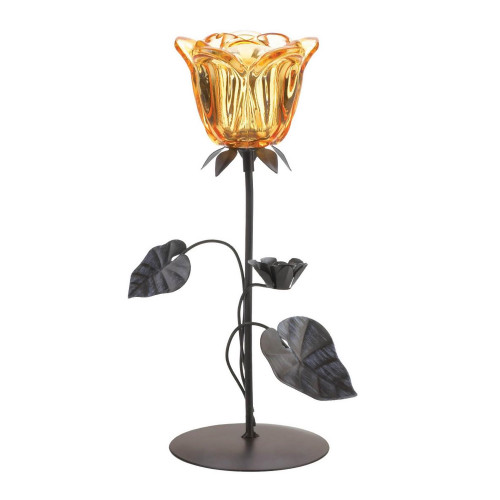 Amber Floral Iron Candle  Holder