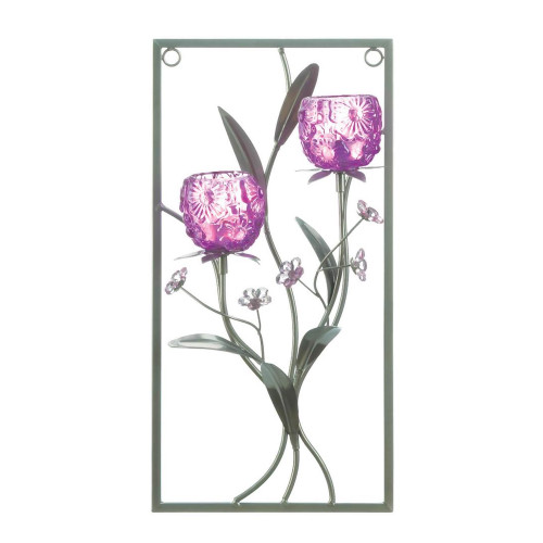 Magenta Flower Two Candle Iron Wall Sconce