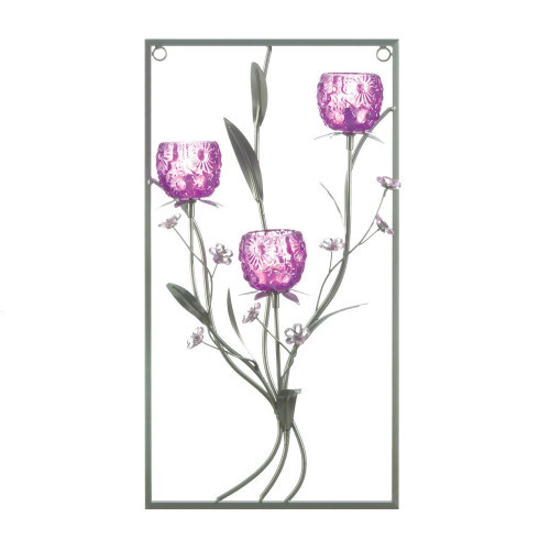Magenta Flower Three Candle Iron Wall Sconce