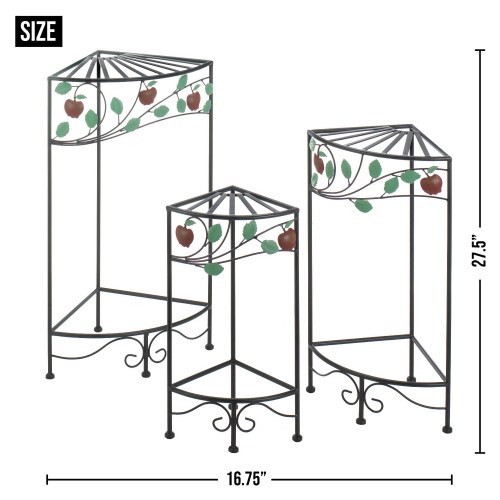 Country Apple Iron Plant Stand Three Piece Set