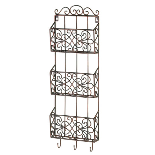 Vintage Style Three Basket Iron Wall Rack