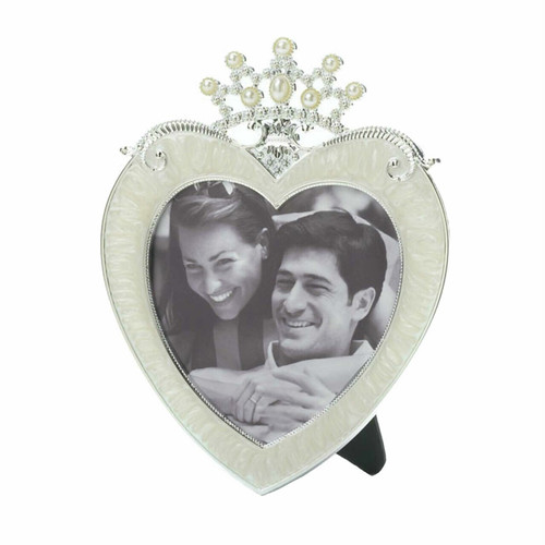 Crown Heart 3x3 Pewter Picture Frame