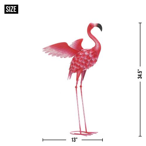 Large Iron Flying Flamingo Statue