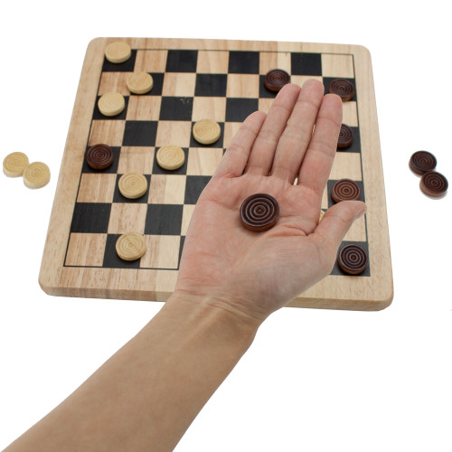 All Natural Wood Checkers and Tic-Tac-Toe Game Set