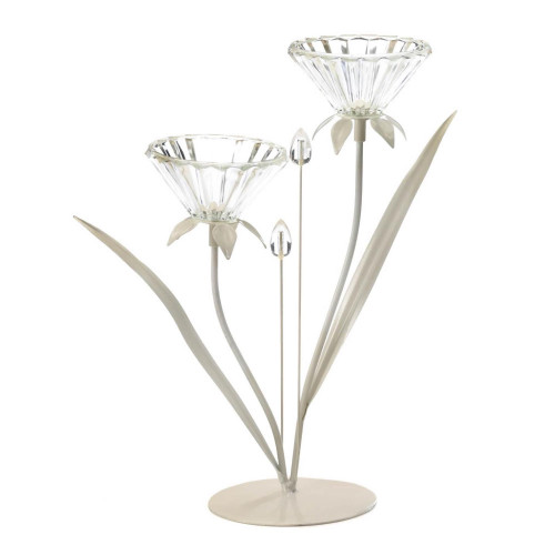 Double Flower Clear Glass Candle Holder