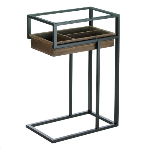 Modern Industrial Style Side Table  with Slide Out Drawer