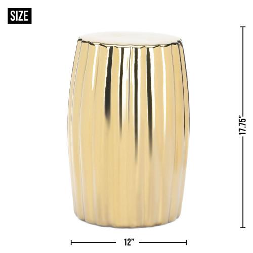 Decorative Shiny Gold Ceramic Stool
