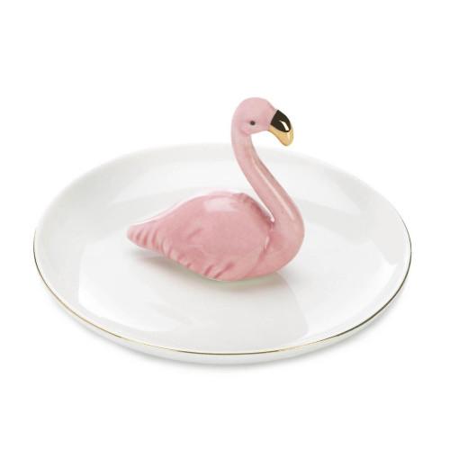 Pink Flamingo Porcelain Ring Dish