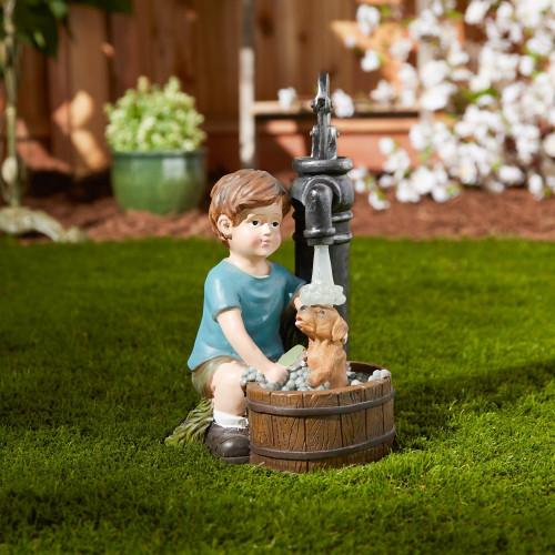 Boy and Dog Bath Time Solar Light Garden Statue