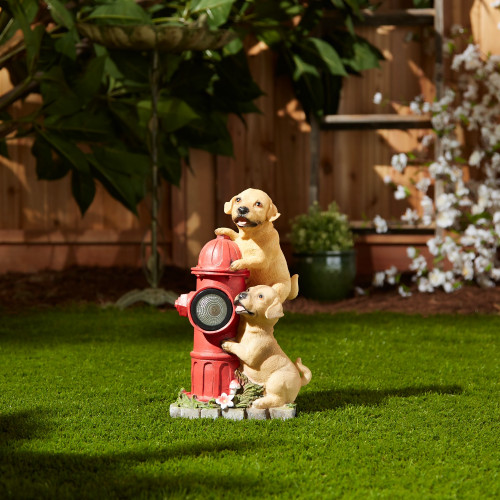 Playful Puppies and Fire Hydrant Solar Light Garden Statue