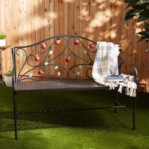 Country Apple Iron Outdoor Bench