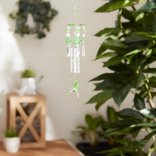 Green Hummingbird Crystal Cascades  Wind Chime
