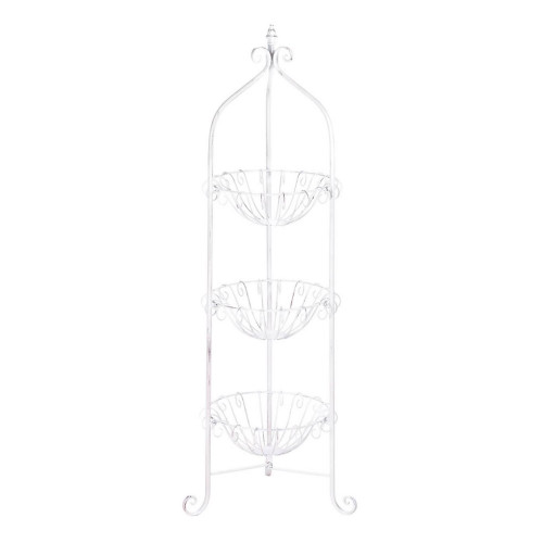 White Corner Metal Basket Stand