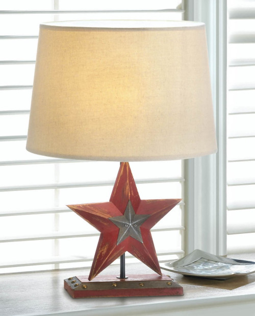 Country Red Star Table Lamp with Neutral Shade