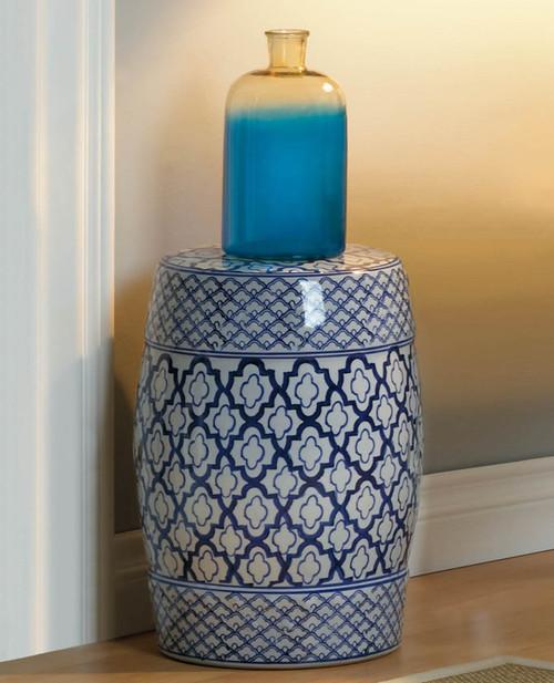 Decorative White and Blue Ceramic Garden Stool