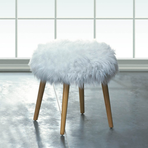 White Faux Fur Footstool