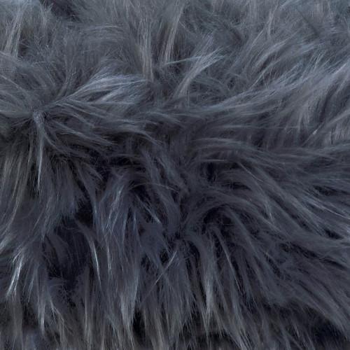 Gray Faux Fur Footstool