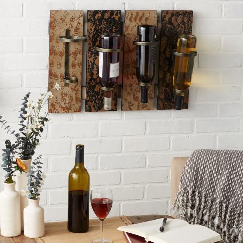 Rustic Wood Wine Bottle Rack