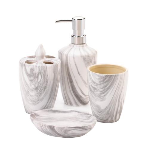 Grey Marble Printed Porcelain Bath Accessory Set